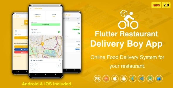 Flutter Restaurant Delivery Boy App for iOS and Android ( 2.0 ) - CodeCanyon Item for Sale