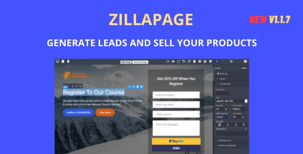 Zillapage v1.1.7 – Landing page and Ecommerce builder – nulled