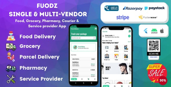 Fuodz – Grocery, Food, Pharmacy Courier & Service Provider + Backend + Driver & Vendor app