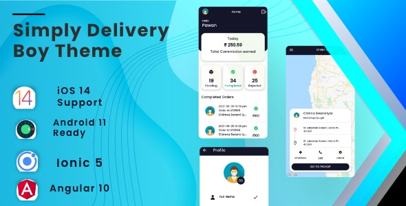 Simply Deliver Boy Mobile App Template   Android App + iOS App Template   Angular 10   Ionic 5