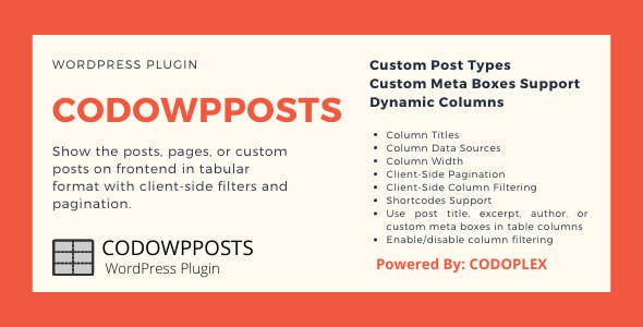 CODOWPPOSTS - Post Types in Tabular Format with Client-Side Column Filtering and Pagination