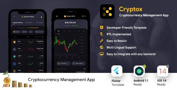 Crypto Prices, Charts | Wallet & NFT Tracker Android + iOS App UI Template | FLUTTER 2 | Cryptox