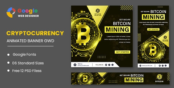 Cryptocurrency Bitcoin Animated Banner Google Web Designer - CodeCanyon Item for Sale