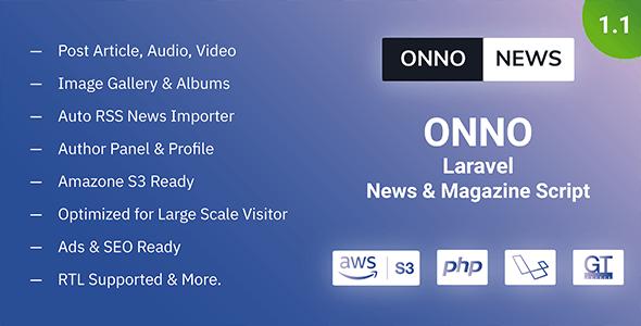 ONNO - Laravel News & Magazine Script - CodeCanyon Item for Sale
