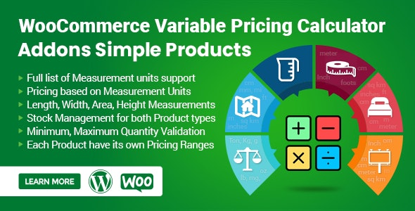 WooCommerce Variable Pricing Calculator (Addons Simple Product) - CodeCanyon Item for Sale
