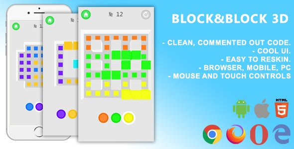 Block&Block 3D. Mobile, Html5 Game .c3p (Construct 3) - CodeCanyon Item for Sale