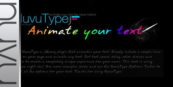 NuvuType jQuery Text Animation Plugin - CodeCanyon Item for Sale