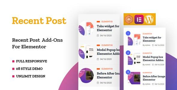 Recent Posts Widget for Elementor