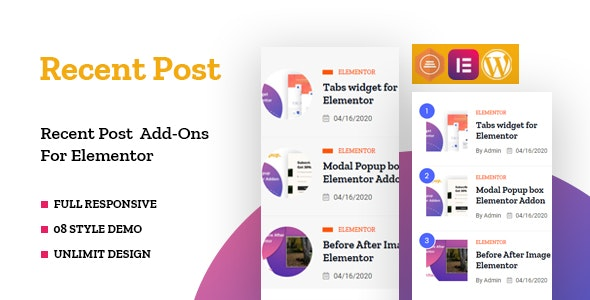 Recent Posts Widget for Elementor - CodeCanyon Item for Sale