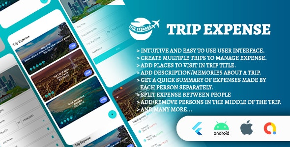 Trip Expense   Android + iOS App   Flutter Full Application Source Code   Flutter 2.2 - CodeCanyon Item for Sale