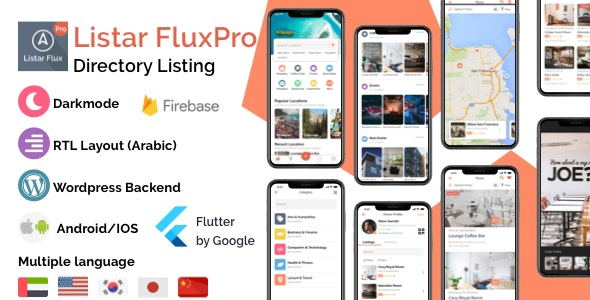 Listar FluxPro - Flutter mobile directory listing & Wordpress CMS Theme - CodeCanyon Item for Sale