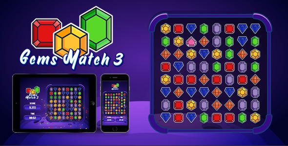Gems Match 3 - HTML5 Game - CodeCanyon Item for Sale