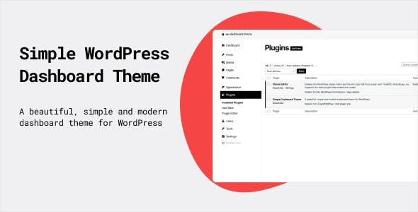 Simple Dashboard Theme / Admin Theme for WordPress