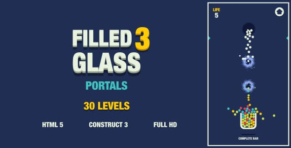 Filled Glass 3 Portals - HTML5 Game (Construct3)