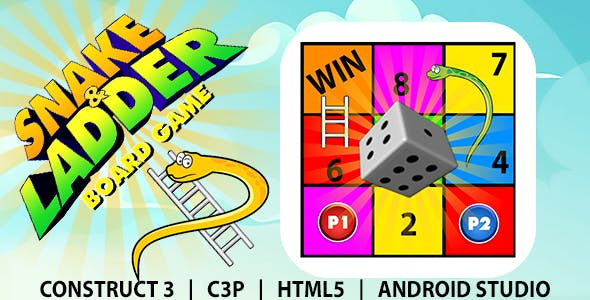 Snake and Ladder Board Game (Construct 3 | C3P | HTML5) Board Game