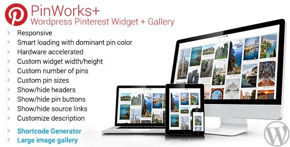 PinWorks+ Wordpress Pinterest Gallery Widget - CodeCanyon Item for Sale