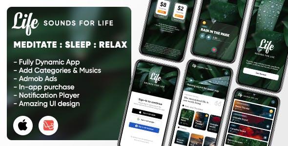 Life: Sleep Sounds - Meditation Sounds - Relax Music App - iOS (Swift UI/Laravel)