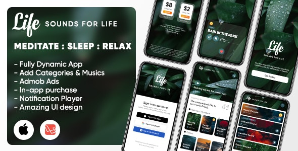 Life: Sleep Sounds - Meditation Sounds - Relax Music App - iOS (Swift UI/Laravel) - CodeCanyon Item for Sale