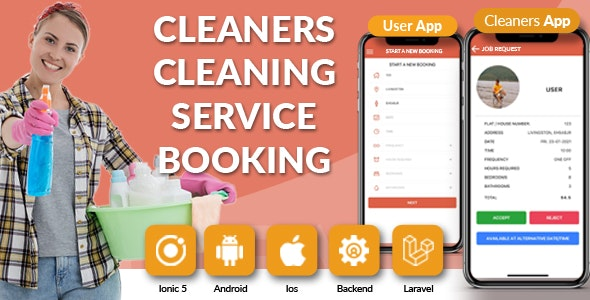 Search & Book Cleaning Services Online Cleaners Booking Full System - User Cleaner Admin iOs Android - CodeCanyon Item for Sale