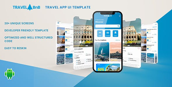 TravelBnB - Flights Hotels Car Rental Booking Android App UI Template