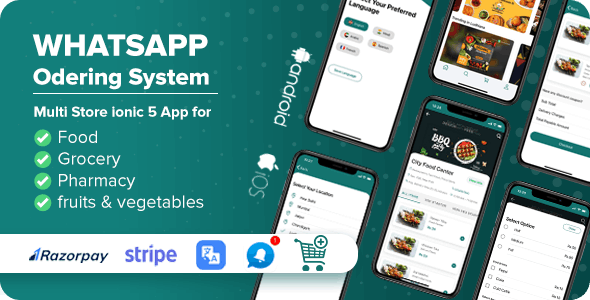 Whatsapp Ordering - Multi Purpose Multi Store ionic 5 App Complete solution with Laravel Backend - CodeCanyon Item for Sale