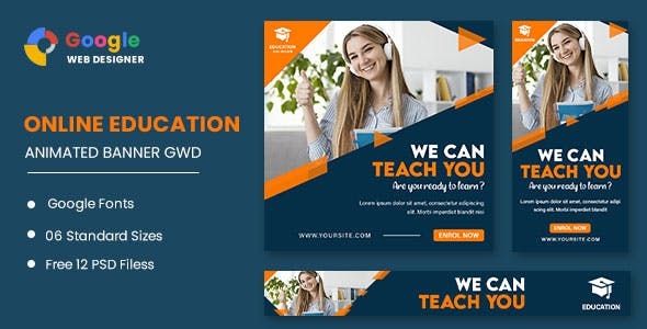 Online Education Animated Banner Google Web Designer
