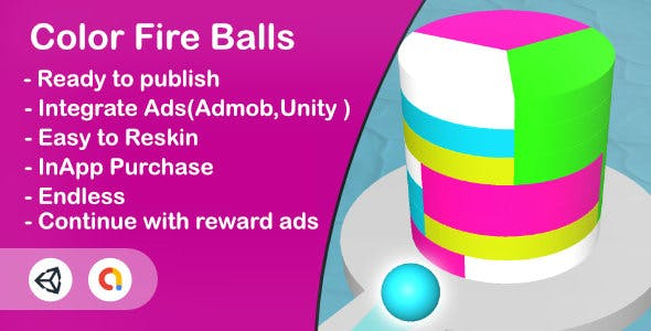 Color Fire Balls (Unity Game+Admob+iOS+Android)