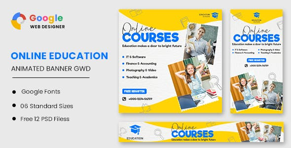 Online Courses Education HTML5 Banner Ads GWD
