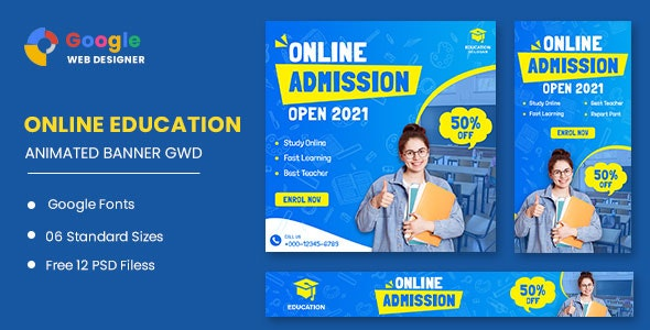 Online Education HTML5 Banner Ads GWD - CodeCanyon Item for Sale