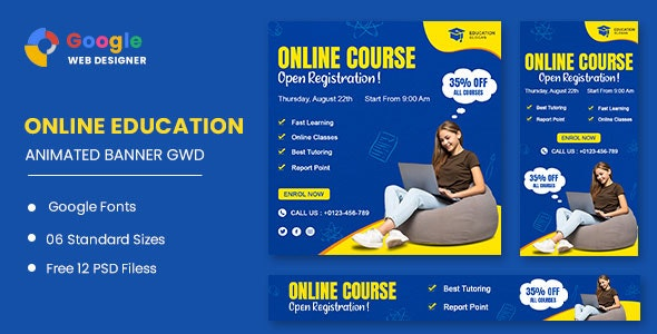 Education Online HTML5 Banner Ads GWD - CodeCanyon Item for Sale