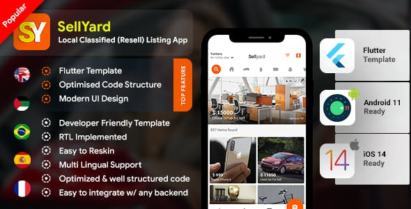 Classifieds Re-seller Android App + Buying Selling iOS App Template| HTML + Css FLUTTER 2 | Sellyard