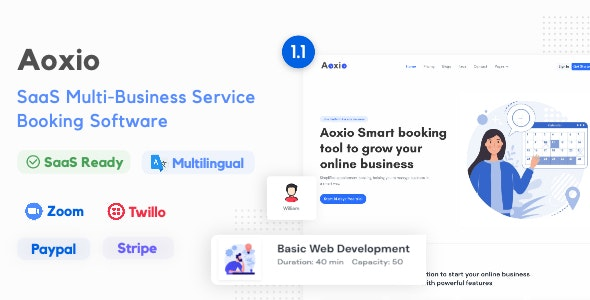 Aoxio v1.1 – SaaS Multi-Business Service Booking Software – nulled