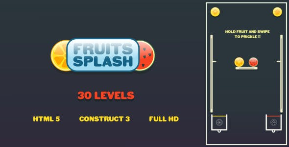 Fruits Splash - HTML5 Game (Construct3)