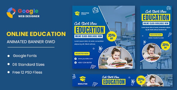 Education Study HTML5 Banner Ads GWD - CodeCanyon Item for Sale