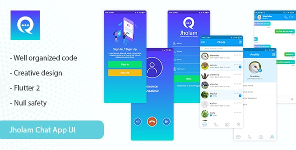Jholam - Flutter Chat App UI Template - CodeCanyon Item for Sale