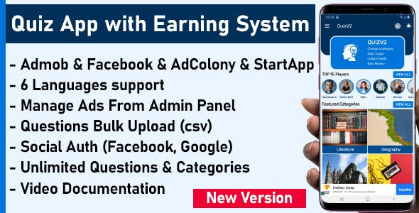 Quiz App with Earning System + Admin Panel