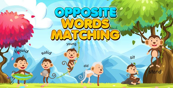Opposite Words Matching Kids Learning Game (Construct 3 | C3P | HTML5) Educational Game