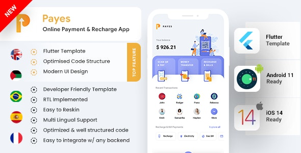 Payes Online Payment, Bill Payment & Recharge Android + iOS App Template | Flutter 2 - CodeCanyon Item for Sale