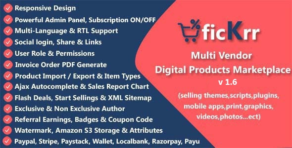 ficKrr v1.6 – Multi Vendor Digital Products Marketplace with Subscription ON / OFF