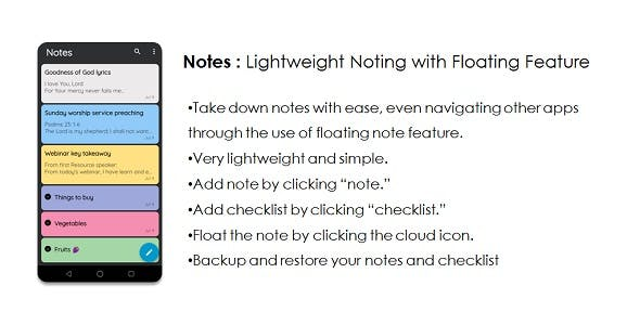 Notes: Lightweight Noting App with Floating Feature