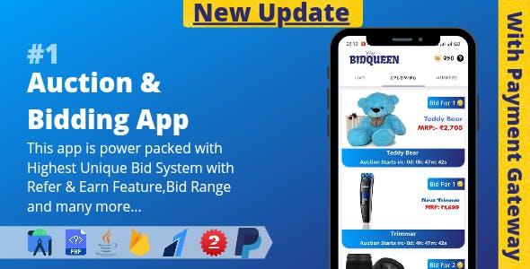 Auction & Bidding App    Highest Unique Bid System with Admin Panel (v2.0)