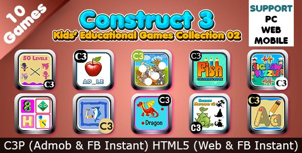 Kids Educational Games Collection 02 (Construct 3   C3P   HTML5) 10 Games Admob and FB Instant Ready