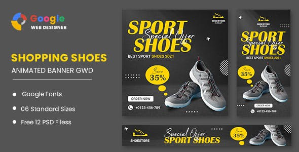 Sport Shoes HTML5 Banner Ads GWD