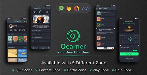 Qearner - Quiz App with Earning System + Admin Panel