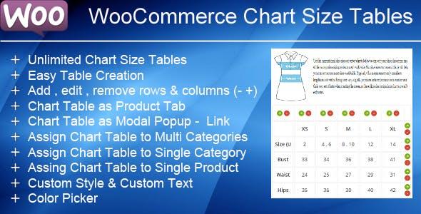 WooCommerce Product Chart Sizes Table