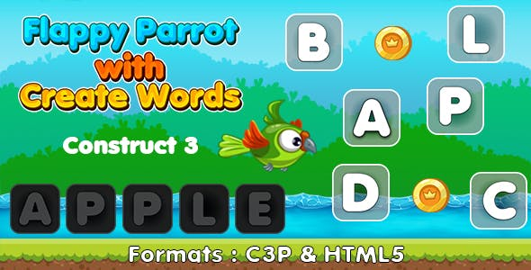 Flappy Parrot with Create Words Game (Construct 3 | C3P | HTML5) Kids Educational game