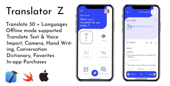 Translator Z | iOS Text and Speech to Text Translator