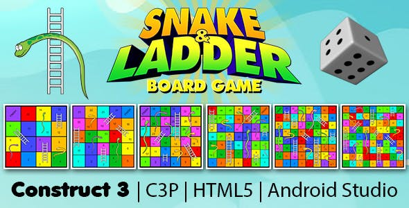 Snake and Ladder Board Game V2 (Construct 3 | C3P | HTML5 | Android Studio) Board Game