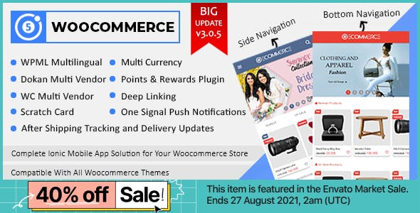Ionic Woocommerce - Ionic 5 Full Mobile App for iOS & Android with App Setting Wordpress Plugin