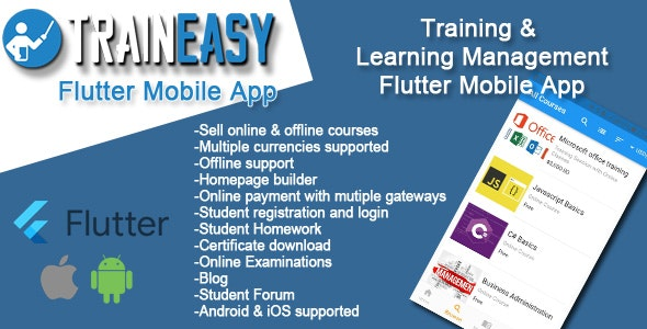 Learning Management System Flutter App - TrainEasy - CodeCanyon Item for Sale